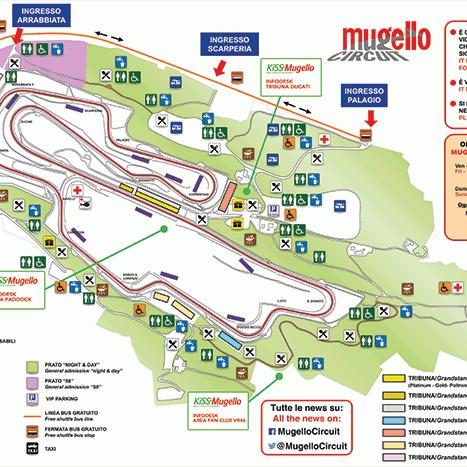 Tribuna Materassi.Mugello Circuit Mappa Circuito